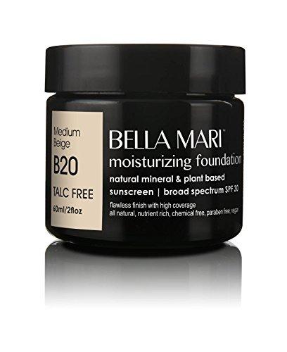 Bella Mari Natural Moisturizing Foundation, Medium Beige (B20); 2floz PBA-Free - Moisturizing The Foundation Natural
