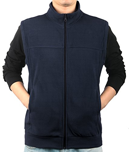 Front Vest Zip (iLoveSIA Men's Full-Front-Zip Fleece Vest Navy Size L)