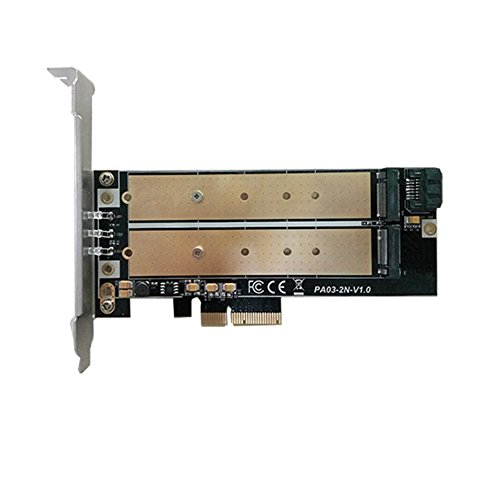 M.2 PCIe NVMe or PCIe AHCI SSD to PCIe 3.0 x4 and M.2 SATA SSD to SATA III Adapter Card (Support 22110/2280/2260/2242/2230) by Generic