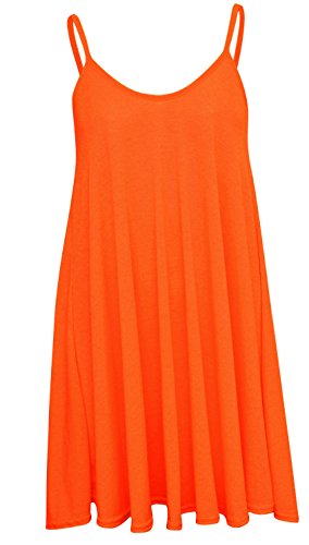 New Womens Plus Size Cami Strappy Sleevless Long Swing Top Mini Dress 8-22 ( Orange , UK 8-10 / EU 36-38 )
