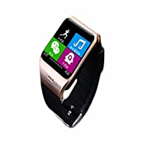 SURMOS Smart Watch LG118 Bluetooth 3.0 WristWatch Build-in NFC Camera Support SIM for Android and Iphone Smartphone (Black Gold?