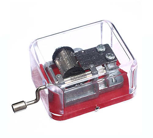 YouTang TM Plastic Hand Crank Music Box SY003 (18 Note Movement in Silver,set of 1) (Red-You are My - Music Christmas Mini Box