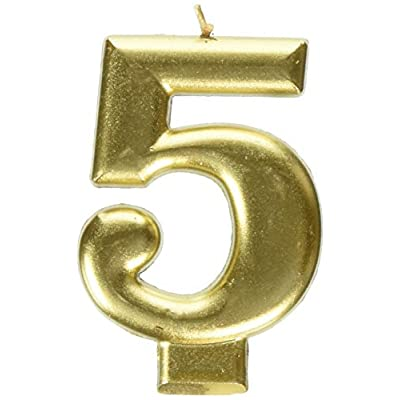 amscan Birthday Celebration, Numeral #5 Metallic Candle, Party Supplies, Gold, 3 1/4
