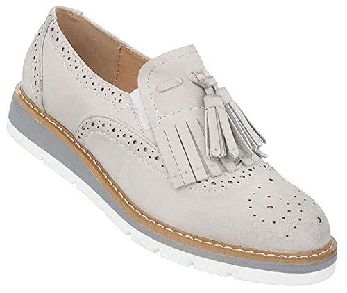 Damen Schuhe Halbschuhe Used Optik Slipper Hellgrau