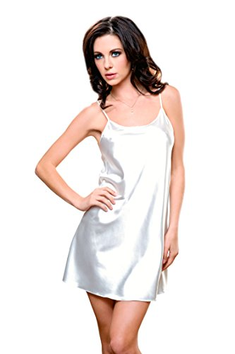 iCollection Women's Satin Chemise, White, Small/Medium