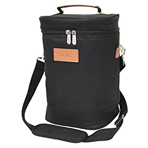 Kato Insulated Wine Tote Bag - 4 Bottle Travel Padded Wine/ Champagne Cooler Carrier with Handle and Shoulder Strap, Great Wine Lover Gift, Black
