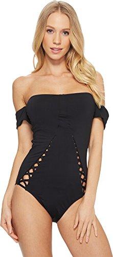 Laundry by Shelli Segal Women's Italian Luxe Solids Laced One Piece Swimsuit, Black, - Bathing Italian Suit