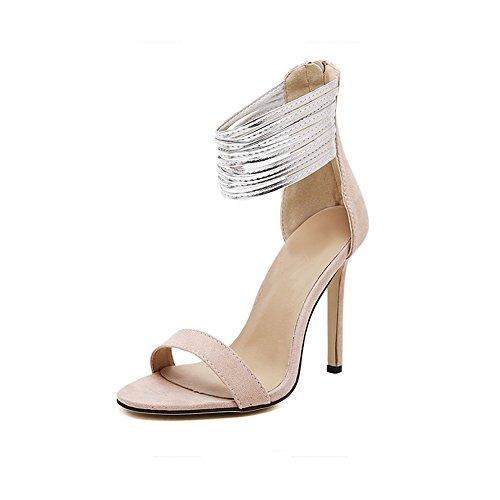 fereshte Women Ladies Suede Open Toe Metal Ankle Straps Platform Stiletto High Heel Sandals Party Shoes Size 7Apricot MKFak