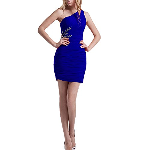 Kivary Women's One Shoulder Pleated Chiffon Mini Short Prom Cocktail Party Dresses Royal Blue US 8 by Kivary