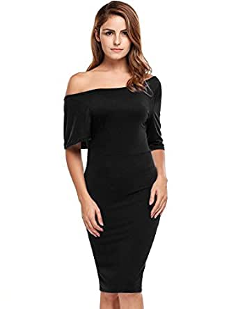 Meaneor Women's One Shoulder Dress with Side Cut Out Pencil Midi Bodycon Sheath Dress(Black,Small)