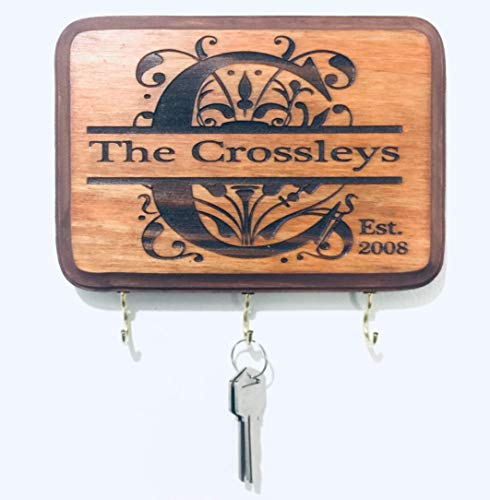 Personalized Monogram Key Holder with Couple's Name and Established Year. Wedding Gift - Anniversary Gift - Couple's Gift - Laser Engraved (Brown)