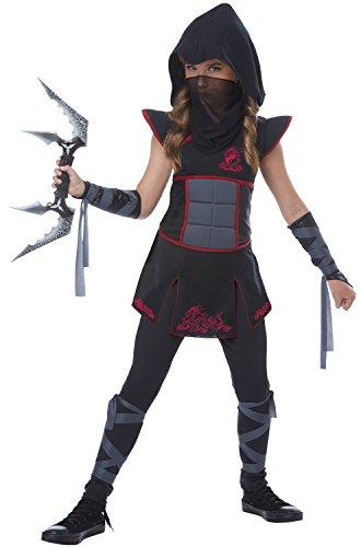 Fearless Black Ninja Girl Kids Costume,  Black / (Girls Ninja)