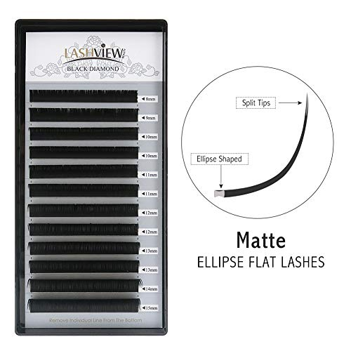 LASHVIEW SUPER MATTE Mink Black Split Tips Ellipse Flat Eyelash Extension D Curl Thickness 0.20 mm Mix Tray 8-15mm Extremely Soft Semi-permanent Application-friendly Individual Lashes For Salon Use ()