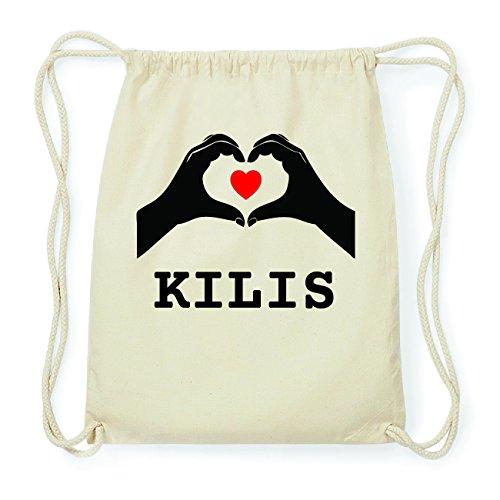 JOllify KILIS Hipster Turnbeutel Tasche Rucksack aus Baumwolle - Farbe: natur Design: Hände Herz