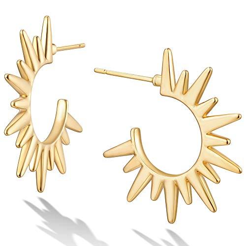 Mevecco Gold Spike Hoop Earrings 18K Gold Plated Tassel Horn Loop Dainty Thick Infinity Round Ear Cute Open Hoops Earrings Mi
