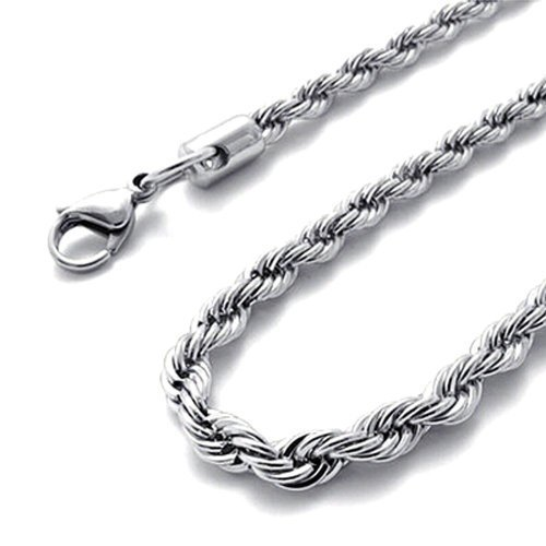 Braid Herringbone - Amythyst Unisex Men's and Women's 3mm Thick Silver Tone Stainless Steel Braided Rope Chain / Necklace (18 Inches)