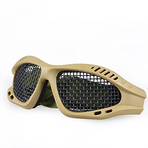 Toonol Tactical Shooting Airsoft Goggles Anti-fog Mesh Safety Goggles for Military Fans Color Black