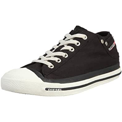 Diesel Exposure Lo Black White Womens Canvas New Trainers Shoes Boots-7.5