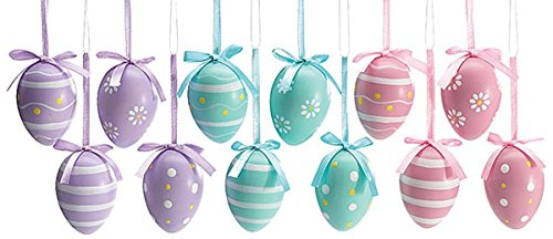 Easter Egg Ornaments 3 Assorted Designs Holiday Gift Home Decor- Set of 12 (Miniature Easter Ornaments)