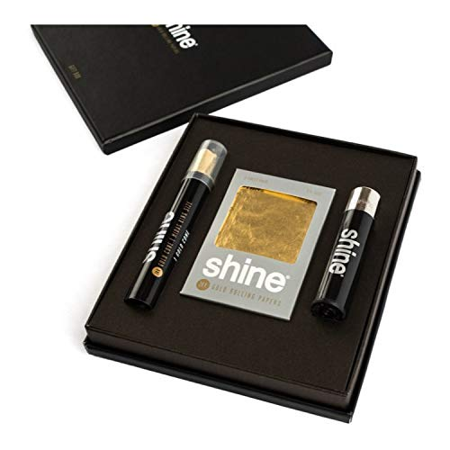 Shine 24K Gold Rolling Paper Gift Box & Bonus Greeting Card -