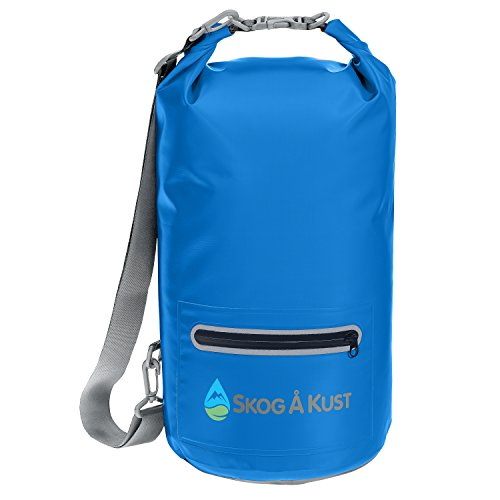 Såk Gear DrySak Waterproof Dry Bag with Exterior Zip Pocket, Shoulder strap and Reflective Trim, For Watersports & Outdoor Activities, 10L Navy Blue