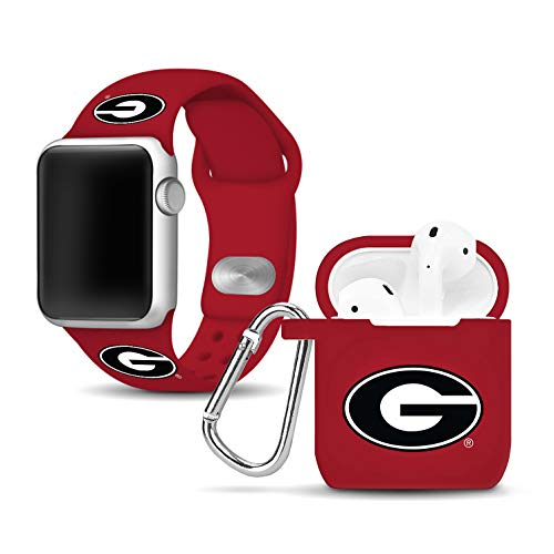Georgia Bulldogs Cell Phone Cover - Affinity Bands Georgia Bulldogs Silicone Watch Band and Case Cover Combo Compatible with Apple Watch and AirPod Case