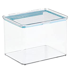 InterDesign Pantry Food Storage Organizer Bin for Kitchen with Air-Tight Hinged Lid-2 Quart, Clear