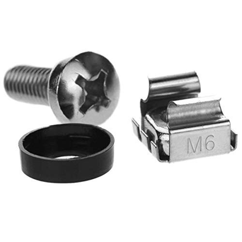 Lancher 20-Pack M6 x 16mm Screws and Cage Nuts for Server Shelf Cabinets Rack Mount Screw cage nut ()