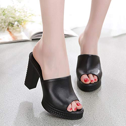 Shoes Thirty Eight Rough Wear Fashion Leather Drag And Wear Women'S Fitting Heels KPHY High Black Summer 11Cm Slippers f1xZF