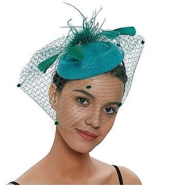 Pfativant Vintage Woman Wool Felt Fascinator Pillbox Hat Mesh Veil Bowler Cap Cocktail Wedding Tea Party Hat