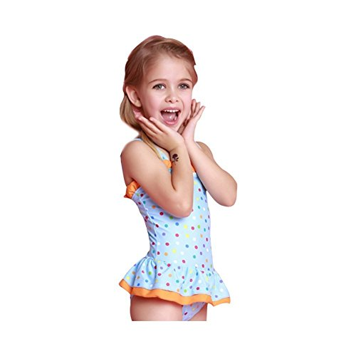 Swimming Costumes Nz (KDHJJOLY Soft Girls Kids Dots Pattern Swimsuit Swimwear Swimming Costume (128(5-6 Years), orange) Orange128(5-6 Years) Hot)