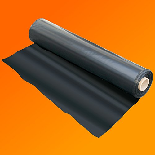 1000G Plastic Sheet Protection Cover Wide QVS Shop 4M X 3M Black Polythene Sheeting 250Mu