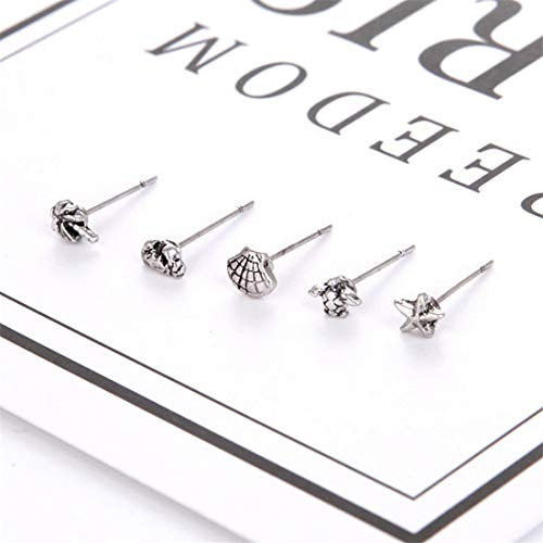 UINKE 5 Pcs Mini Vintage Crab Starfish Coconut Sea Turtle Stud Earrings Gift for Women Girls,Silver (Mini Earrings Starfish)