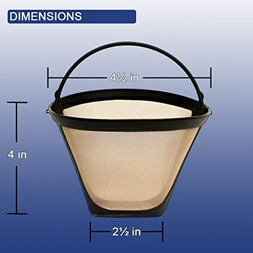 GoldTone Brand Reusable No.4 Cone Style Replacement Coffee Filter replaces your Cuisinart Permanent Coffee Filter for Machines and Brewers
