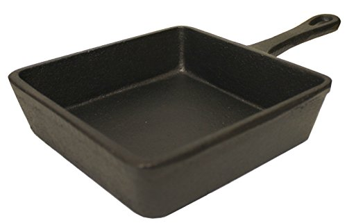 Kasian House Mini Square Cast Iron Griddle Pan - 5x5' - Individual or Single Serving - Grilling, Camping, Warm Desserts and Dips