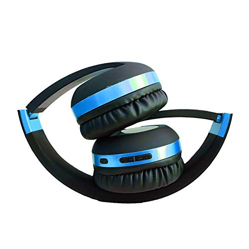 Wireless Headset with Mic,Foldable Bluetooth Headphone with 3.5mm Audio Jack for PC/iPhone/Android Smartphones Computers(Black+Blue) by YSSHUI (Image #4)