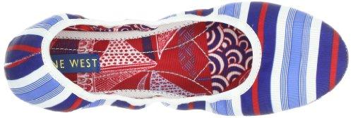 Negen Dames Americana Ballet Flat Witte Multi / Blauwe Stof