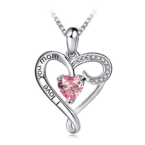 (Mother's Birthday Gift I Love You Mom S925 Sterling Silver Heart Pendant Necklace (Pink))