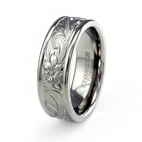 TIONEER Titanium Handcarved Floral Design Ridged Edge Wedding Band, Size 9 (Antique Ring Band)