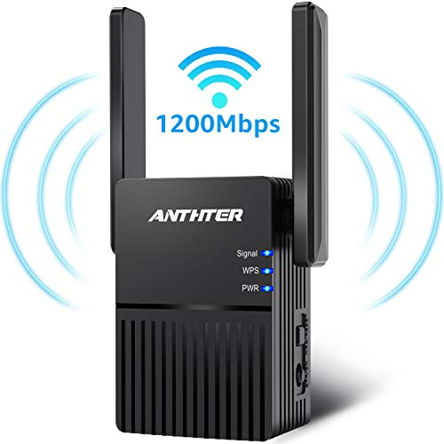 Cheap WiFi Range Extender, Anthter 1200Mbps WiFi Repeater with 2 External Antennas, 2.4  5GHz Dual Band Signal Booster, 360 Degree Full Coverage WiFi Range Extender Repeater, Easy Set-Up wifi extender for mac