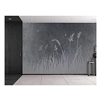 Stunning Piece, Created By a Professional Artist, Wheat Silhouette on a Grey and Grainy Background Wall Mural