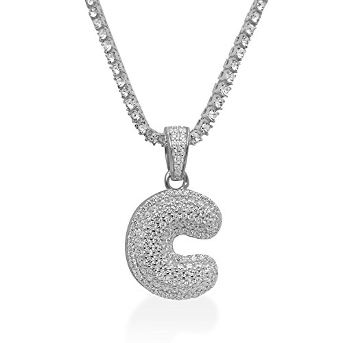 925 Sterling Silver White Gold-Tone Iced Out Hip Hop Swag Bling Bubble Letter C Pendant with 24'' 1 Row Chain by iRockBling