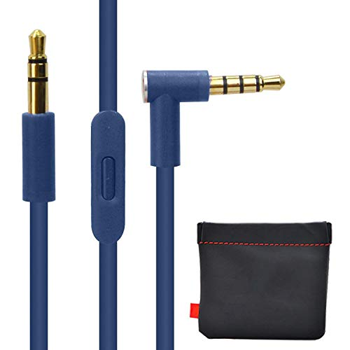 Replacement Audio Cable Cord w/ In-line Remote & Microphone + Replacement Leather Pouch Soft Storage Bag for Beats by Dr Dre Headphones Solo Studio Pro Detox Wireless Mixr Executive (Blue)