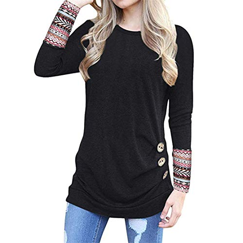 Mikey Store Women Long Sleeve Loose Button Trim Blouse Patchwork Round Neck Tunic T-Shirt