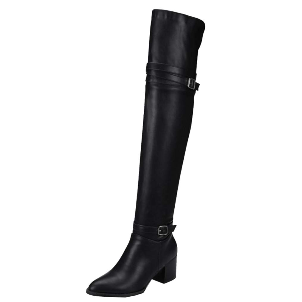 Hoxekle Women Over The Knee High Boots Slip On Buckle Straps Pointed Toe Mid Square Heel Ladies Fashion Long Boots