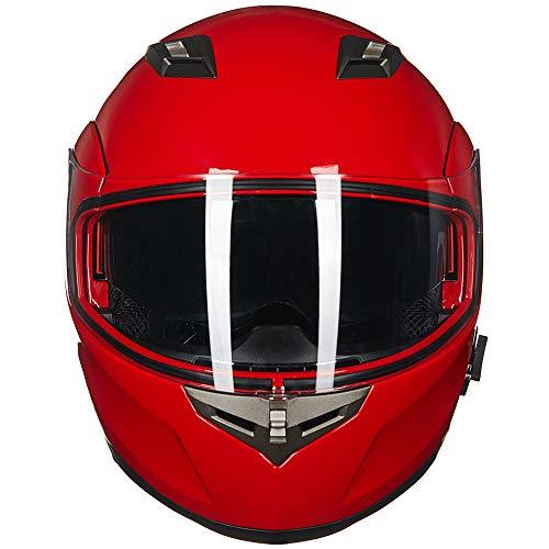 ILM Bluetooth Integrated Modular Flip up Full Face Motorcycle Helmet Sun Shield Mp3 Intercom (XL, RED) by ILM (Image #7)