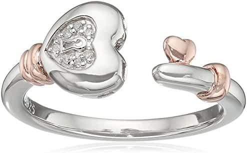 Sterling Silver with Pink Gold Plating Diamond Heart Ring, Size 7
