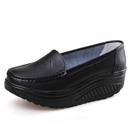Swing Classic Nantucket - AGONG Women Wedge Loafers Slip-On Comfort Breathable PU Leather Round Toe Hollow Casual Nurse Swing Shoes Black