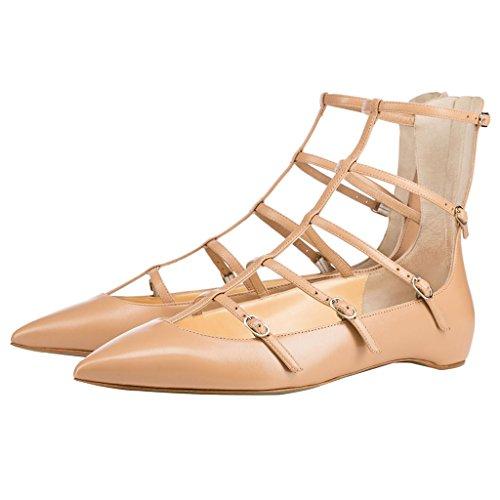 Calaier Mujer Cacatcad Plataforma 1CM Sintético Hebilla Sandalias de vestir Zapatos Beige B