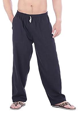 CandyHusky Men Casual Lounge Jogging Workout Yoga Pants Elastic Waist Drawstring